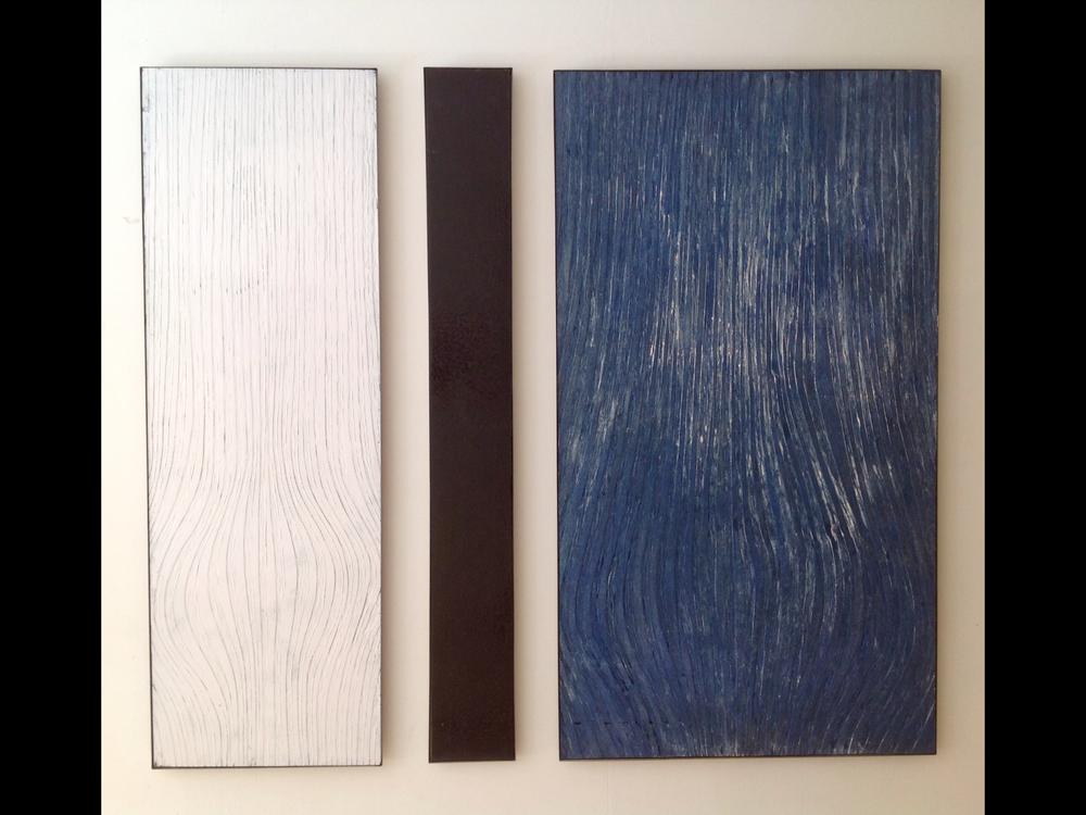 Cut185x180  houtsnedes, opgebouwd uit diverse blauwen, witten en zwarten.  status;verkocht