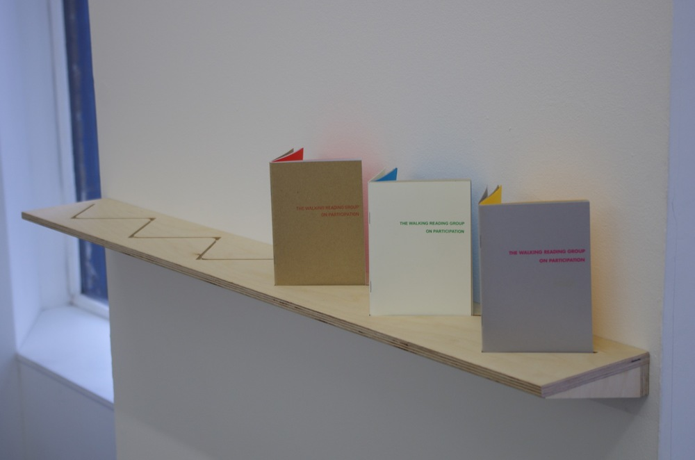 Lydia Ashman, Ania Bas & Simone Mair, The Walking Reading Group on Participation, installation view at PEER, 2014