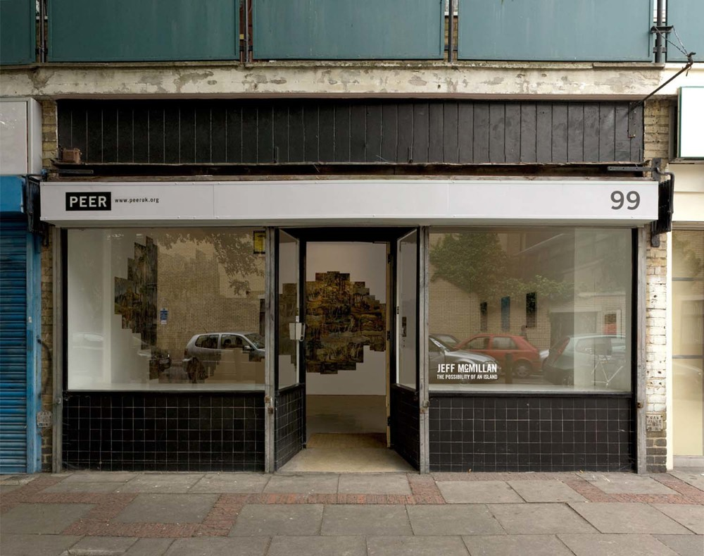 Installation shot of exhibition at PEER from shop front