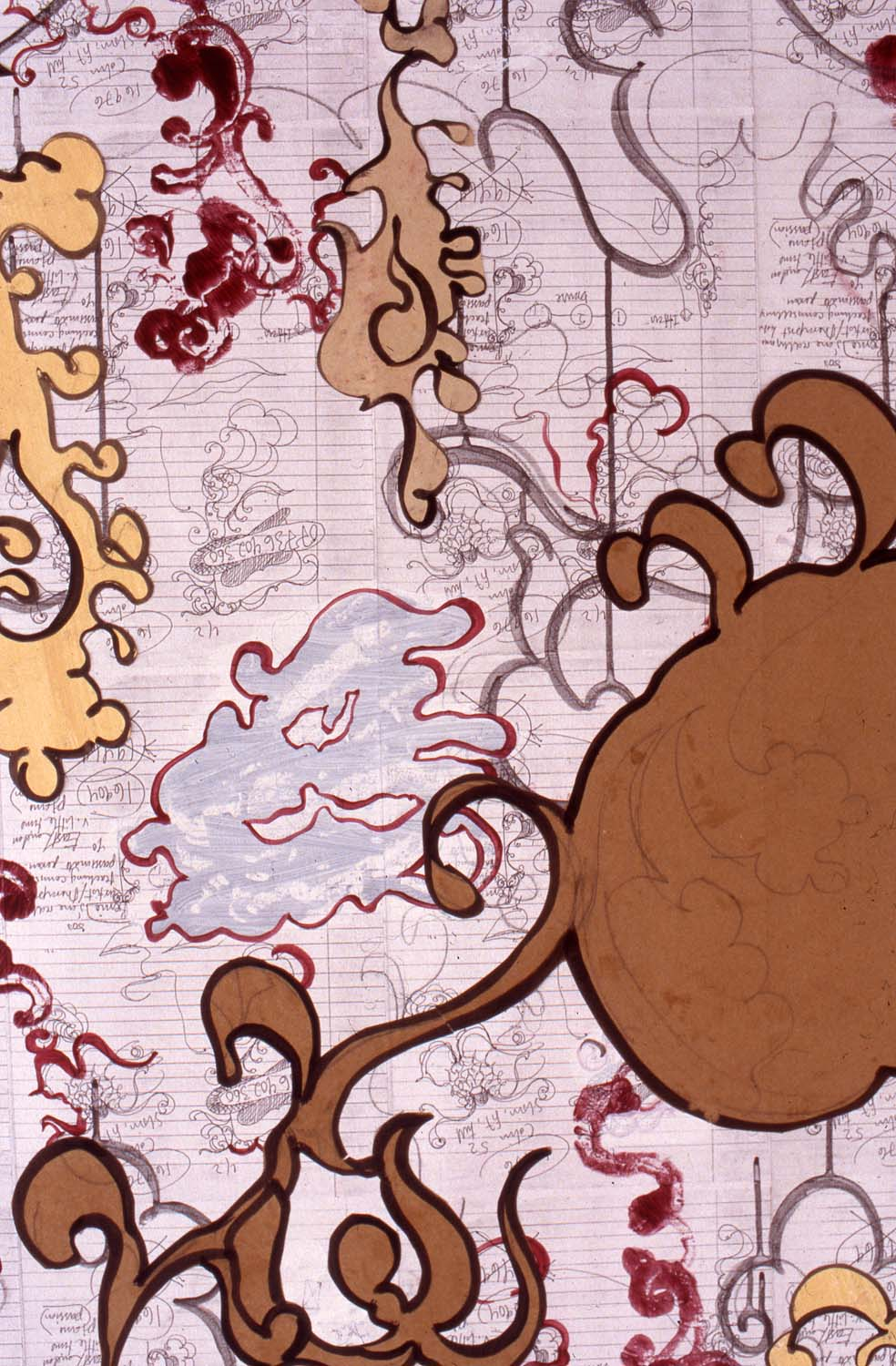 Detail from  v. little time,  2002  Xerox, acrylic, gesso and paper on canvas 152 x 198 cm