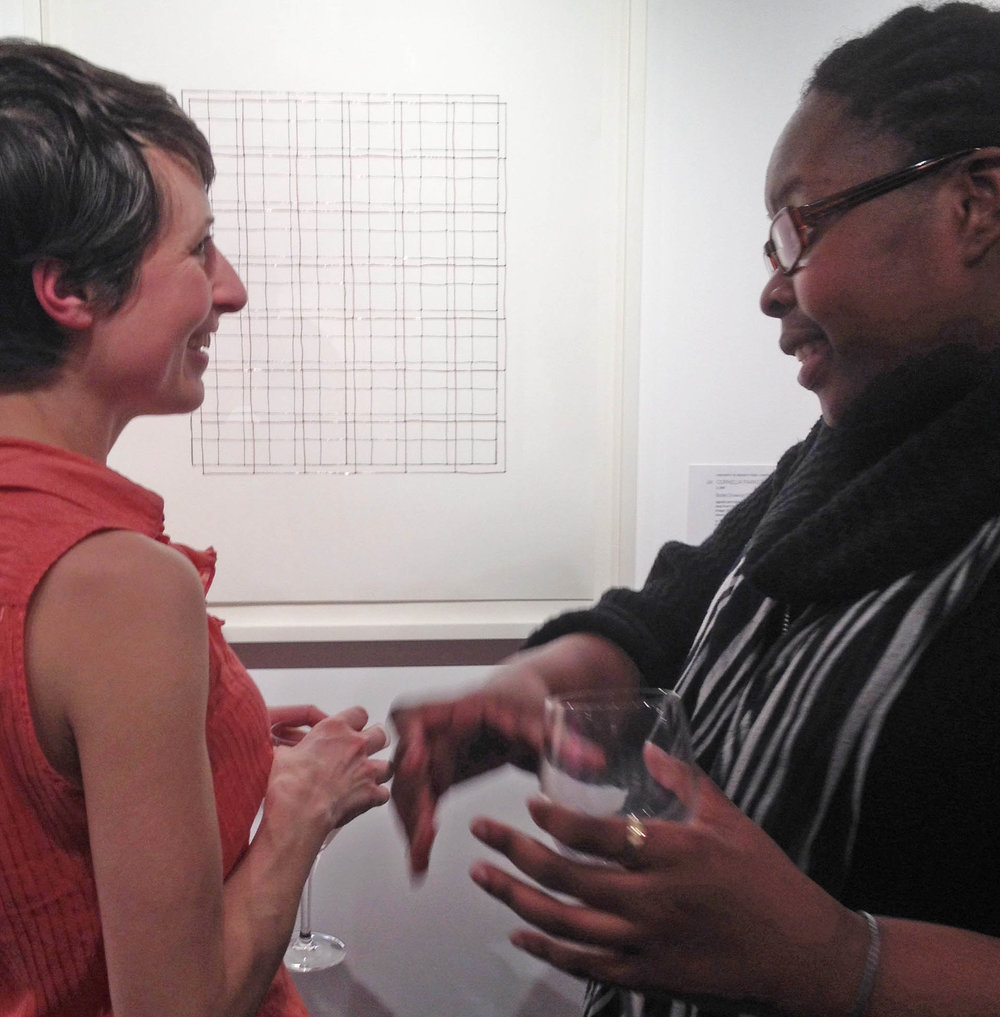 Khadija at Sotheby's in March 2016, with a colleague at the preview for a fundraising auction she assisted with