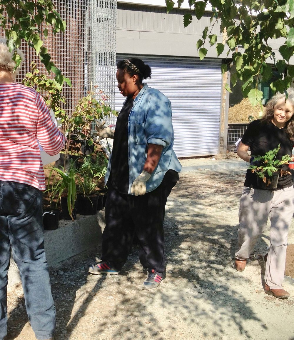 Khadija in September 2015, planting the new garden on Hoxton Street with volunteers and gardener