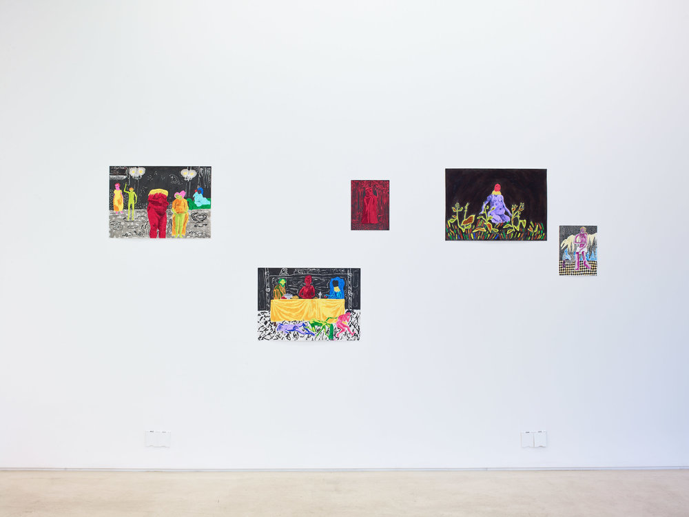 BOUND Installation view, left to right: Dominic Dispirito  The dancers, Who's not welcome at the dinner table, I was walking through the woods one day, that's where I go to play, In the garden  and  One man and his dog  2018 Image: Stephen White