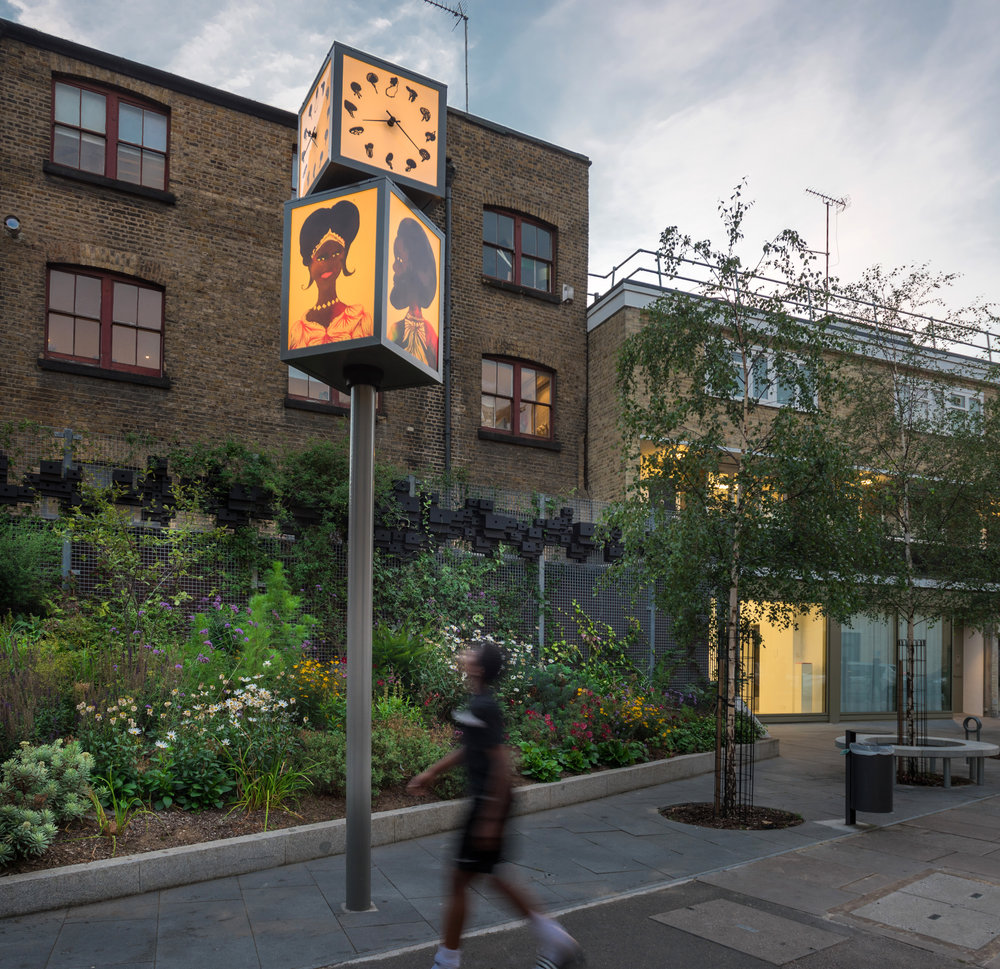 Khadijas Garden and Chris Ofili clock in front of PEER. Image by: Deniz Guzel