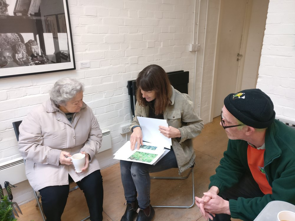 Sally, Jane and Kevin discussing planting