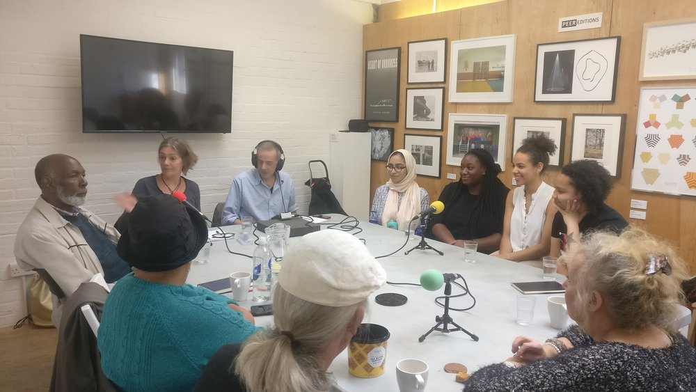 PEER Ambassadors and a group from Hello Hackney recording a podcast about living in Hackney in the past and today