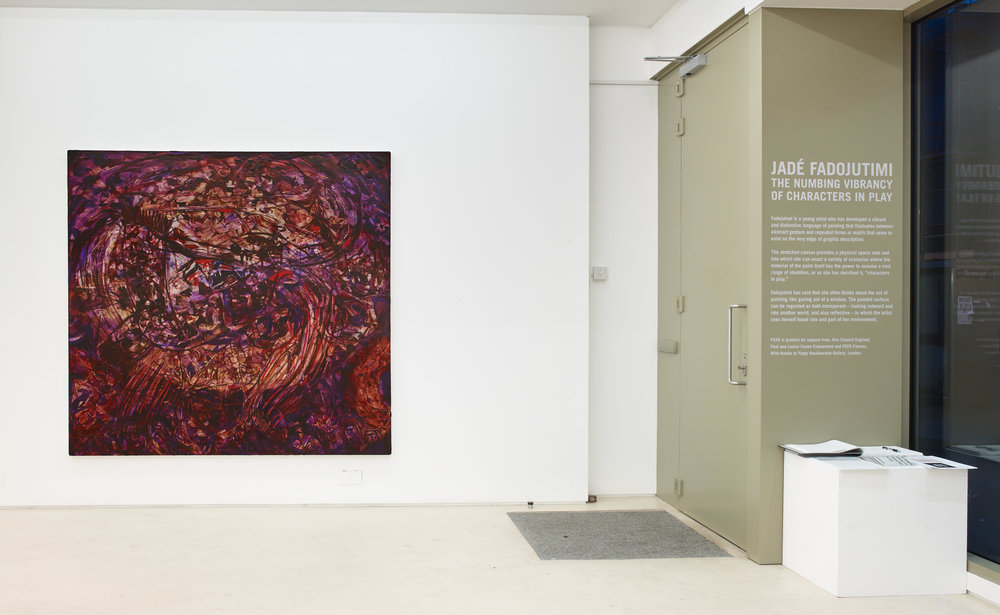 Installation Image: Jadé Fadojutimi –  Turmoil,  2019, Photo: Stephen White