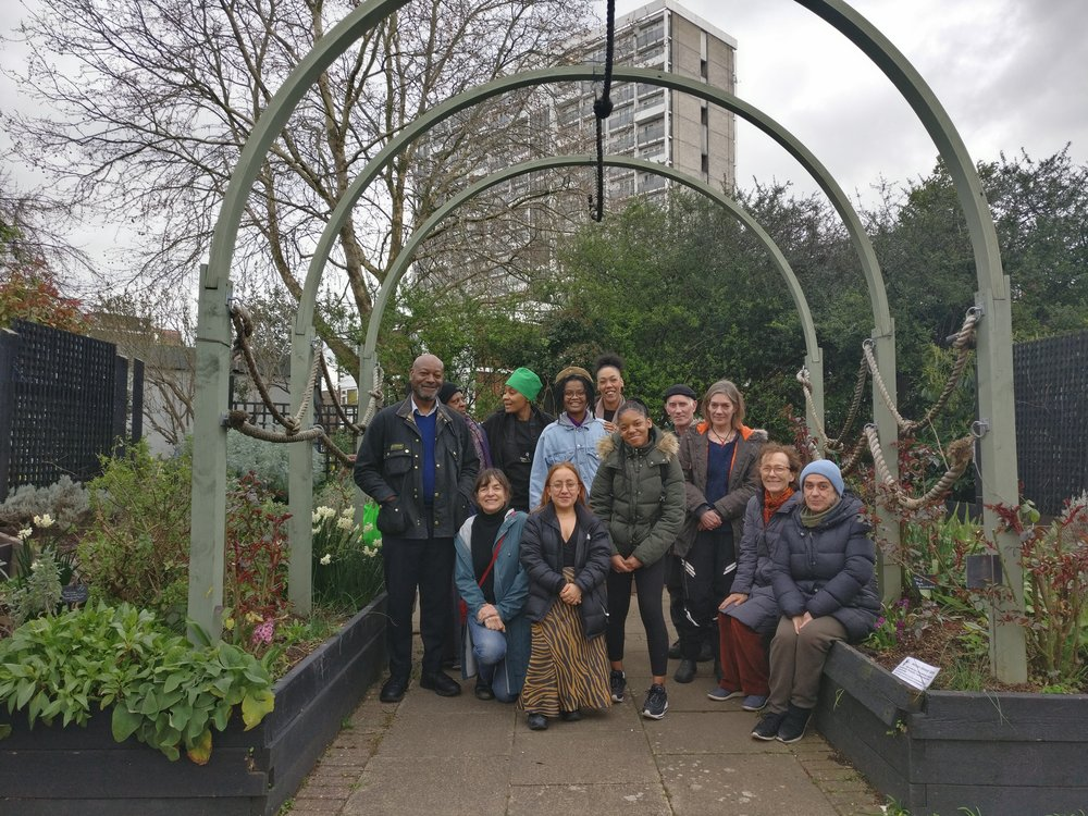 Adopt a Tub participants from our second workshop  at St Mary's Secret Garden getting inspired by all of their plants