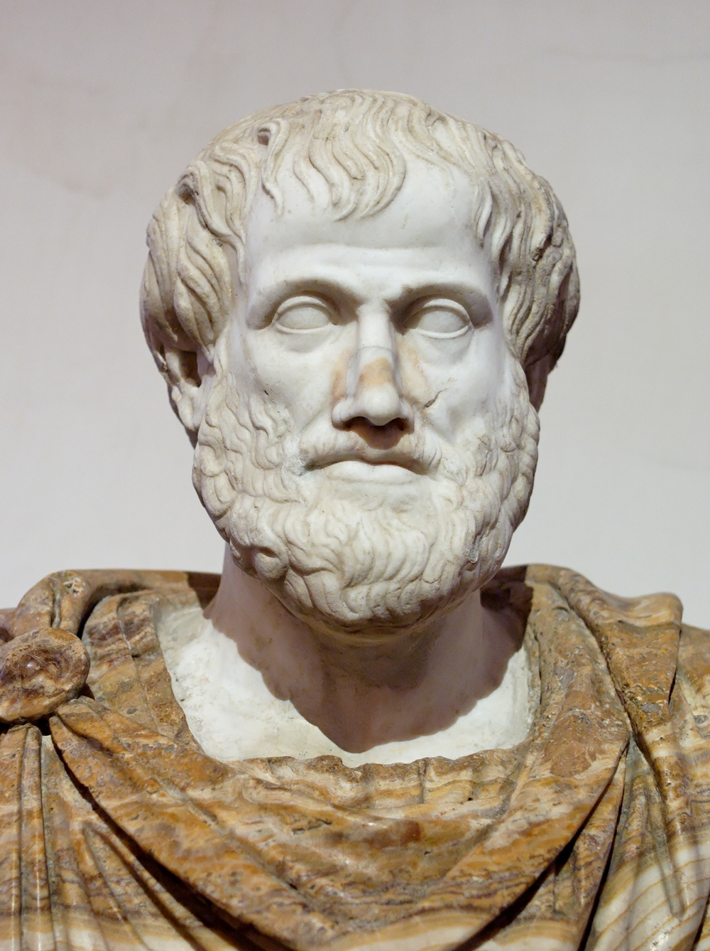 Roman copy in marble of a Greek bronze   bust of Aristotle by Lysippus   330 BC.
