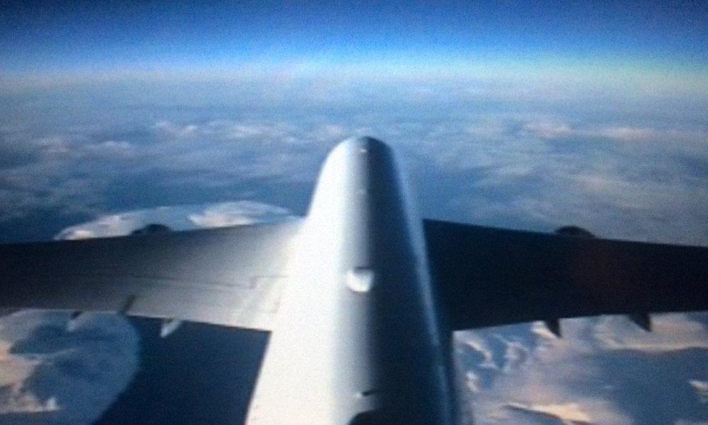Lufthansan kipparin GoPro oli kiinnitetty kätevästi Boeing 747 peräsiipeen...:)