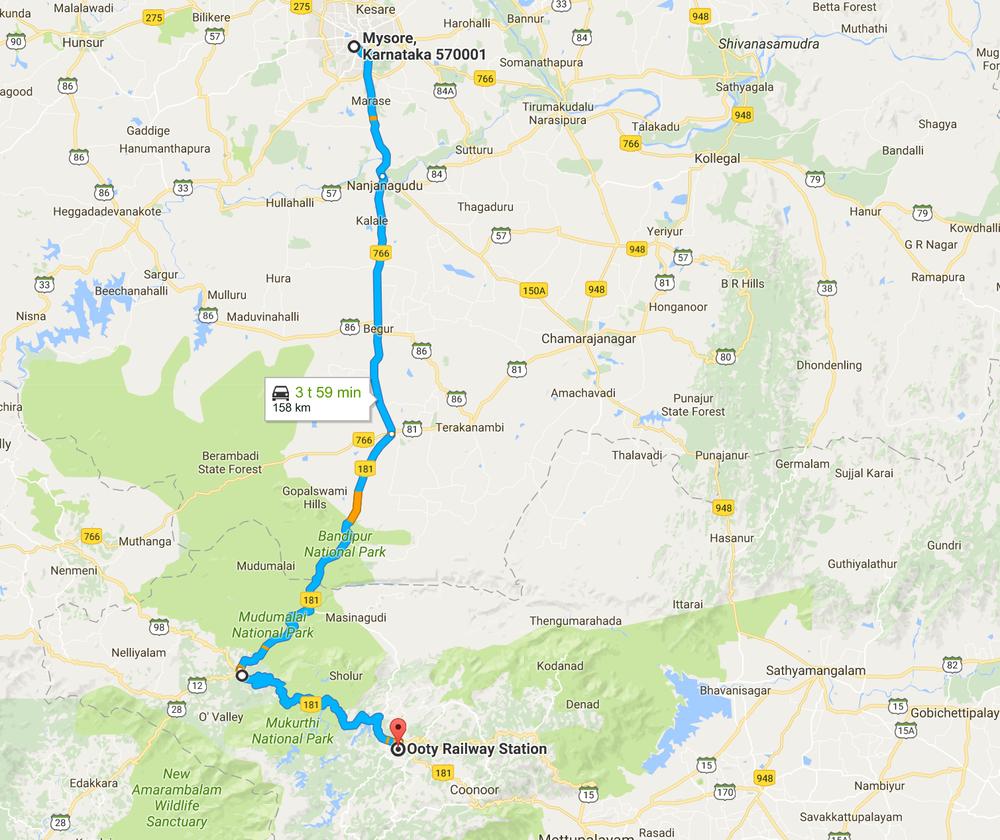 Päivän reitti - google maps on ajan suhteen vähän turhan yltiöoptimistinen, sillä meillä meni ajamiseen noin 6-7 tuntia kaiken kaikkiaan...