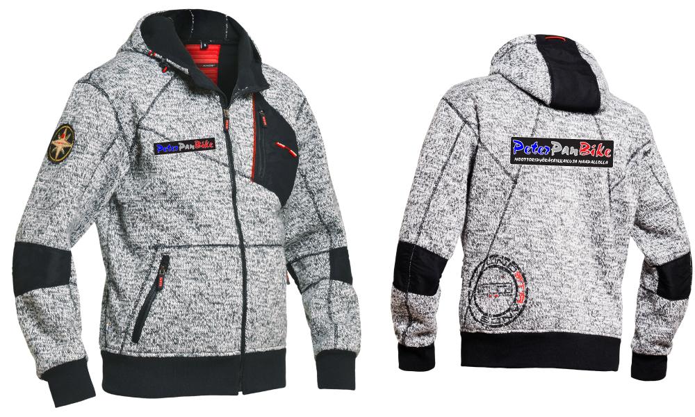 Jofaman kolmikerroksinen, tuulenpitävä villaneule / fleece säädettävällä hupulla ja PeterPanBiken logolla. Hinta 169 €