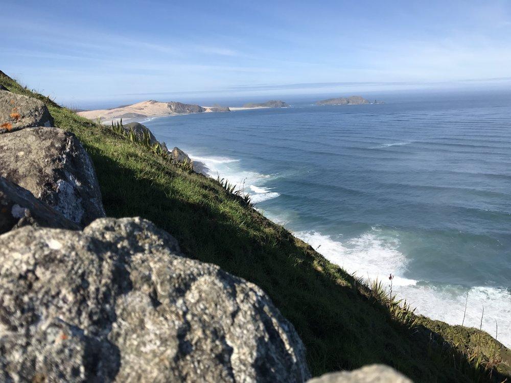 Maisemat Cape Reingalta Tasmanianmerelle olivat huikeat. Australian rannikko on tästä n. 2000km päässä.