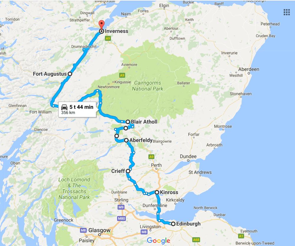 Ensimmäisen ajopäivän reitti suureinpiirtein - Edinburghista pois valtatietä pitkin ja loppumatka pikkuteitä Loch Nessin rannoille ja Invernessiin...