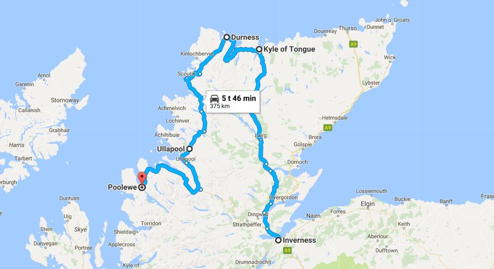 Päivän ajoreitti Skotlannin ympäri.