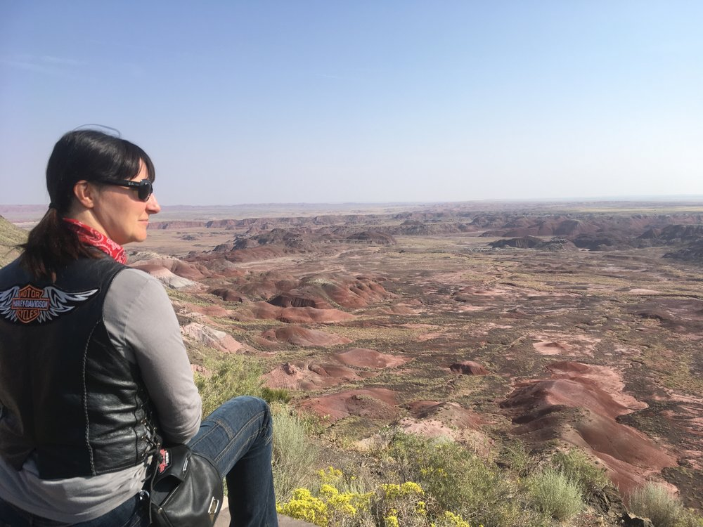 Marika tutkiskelemassa Kivettyneet maisemat...