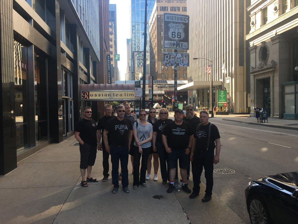 Virallinen aloituskuva Routen lähtöpisteessä Chicagon keskustassa.