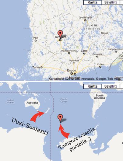 Eli jos ollaan tarkkoja, niin Suomesta käsin toisella puolella maapalloa on silmänkantamattomin Tyyntä valtamerta. Mutta jos haluat ajalla kuivalla maalla, niin Uusi-Seelanti on maantieteellisesti kauin paikka tällä planeetalla missä se on mahdollista ;)
