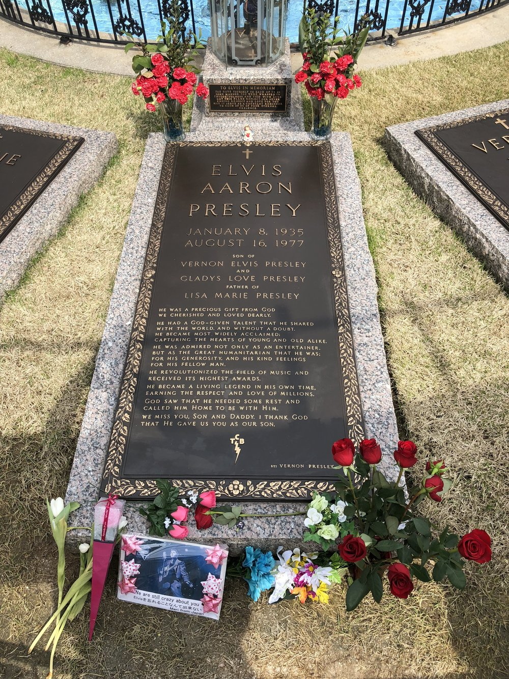 Elvis Presley löydettiin makaamasta elottomana kotinsa kylpyhuoneen lattialta iltapäivällä 16. elokuuta 1977. Hänet julistettiin kuolleeksi sairaalassa. Kuolinsyyksi ilmoitettiin sydämen rytmihäiriö.  Elviksen hautajaiset pidettiin 18. elokuuta. Elvis haudattiin Forest Hill hautausmaalle mausoleumiin äitinsä viereen. Elokuun lopulla Elviksen ruumis yritettiin varastaa. Tapauksen jälkeen Elvis ja hänen äitinsä haudattiin tähän Gracelandin Meditaatiopuutarhaan, jossa lepäävät myös hänen isänsä ja isoäitinsä.