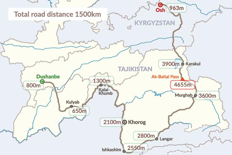 """Pamir Highway Tadzikistanin läpi. """"Pamir"""" - tarkoittaa käytännössä """"maailman katto"""" ja nimi on helppo ymmärtää sillä suurimmaksi osaksi tie menee yli 3000 metrin korkeudessa Pamir vuoriston keskellä. Tie on ollut olemassa / käytössä jo reilusti yli 1000 vuotta. Ja aikoinaan tämä pätkä kuului """"Silkkitiehen"""". Monet tuntevat tämän tien nimellä """"Heroin Highway"""" Sillä suurin osa Afganistanista tuodusta heroiinista kulkee nimenomaan tätä reittiä pitkin..."""