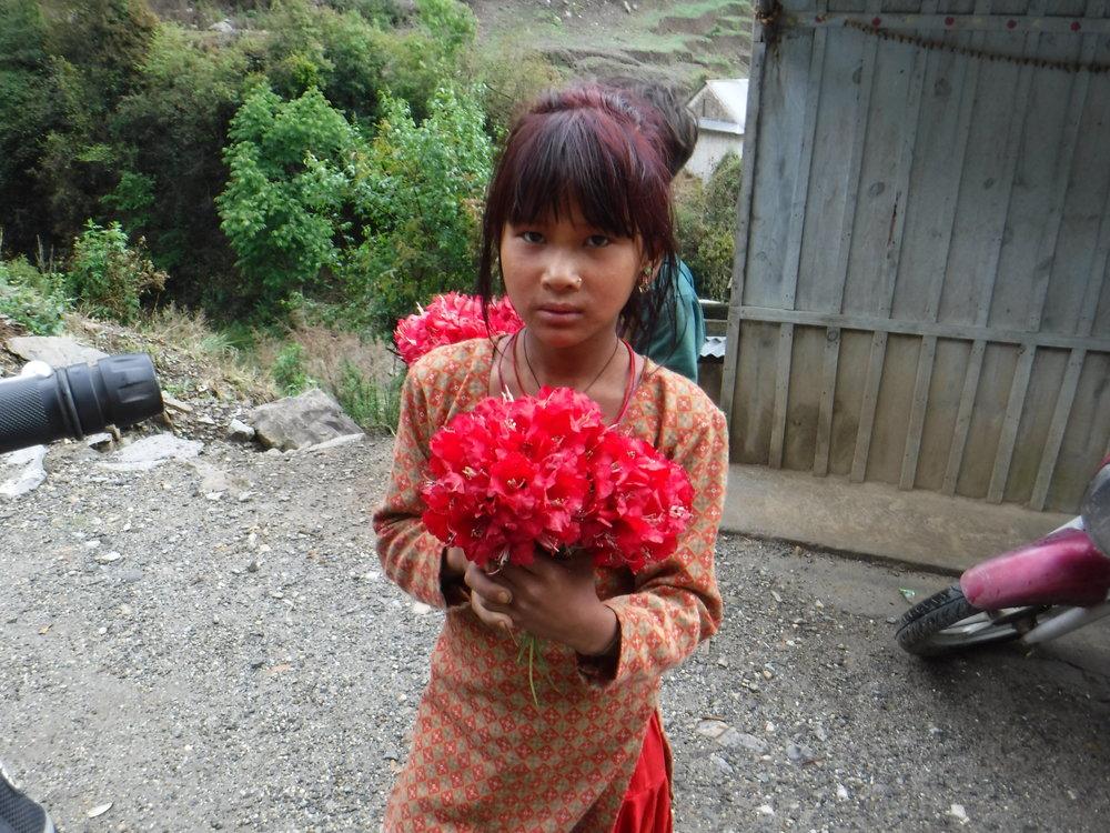 Tyttö myi minulle nepalin kansalliskukan matkan varrella.