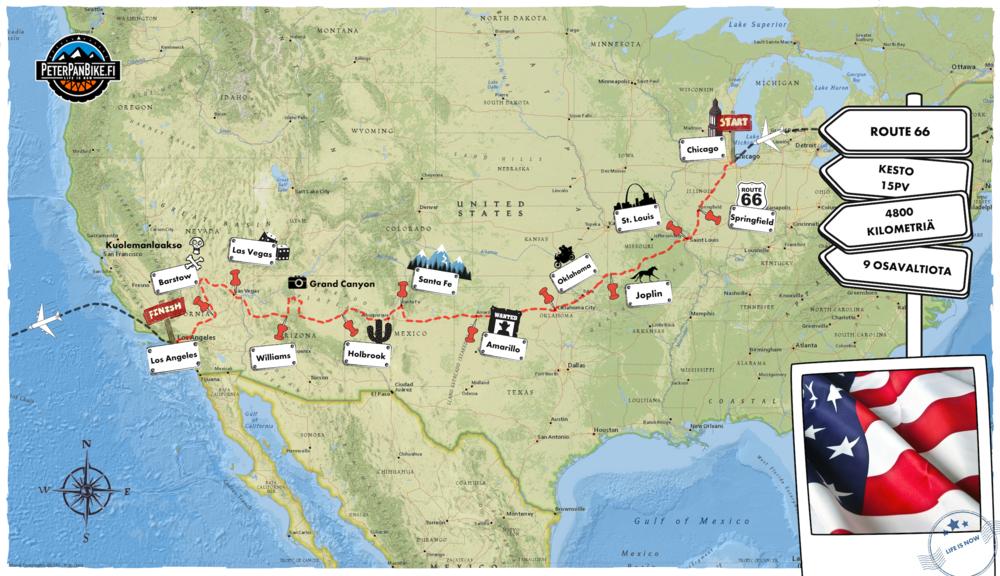 Kartta suurenee klikkaamalla. Päiväkohtaisen matkaohjelman ja pyörävaihtoehdot löydät alempana.