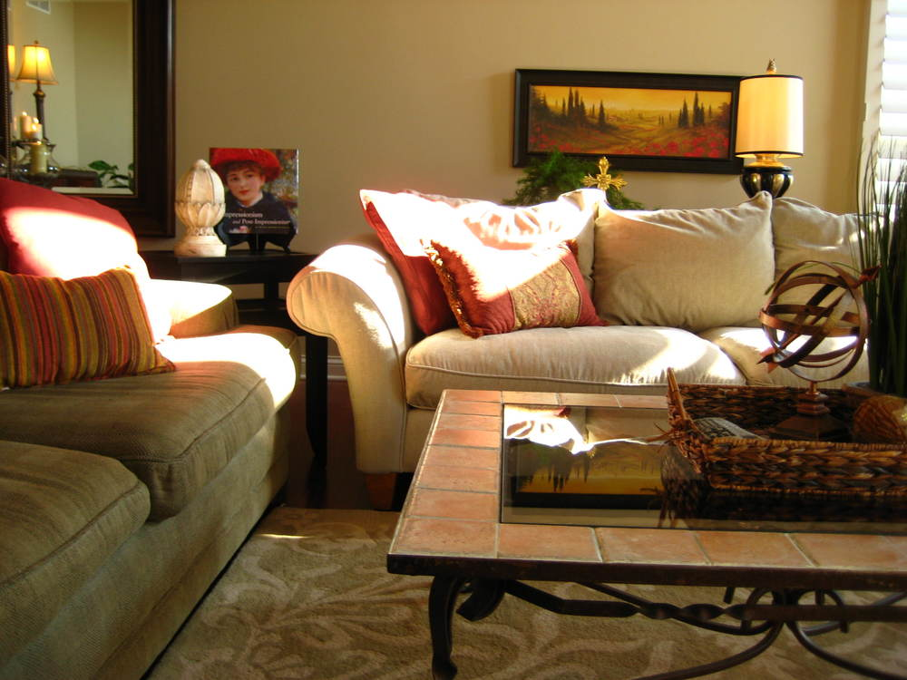 redesign, family room, transitional, rolled arm sofa, coffee table, accessories