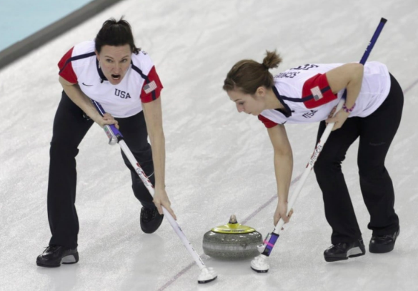 Team USA lead Ann Swisshelm, left, and second Jessica Schultz compete at the 2014 Winter Olympics in Sochi. (Ints Kalnins/Reuters)