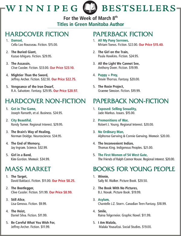 BEST-SELLERS LIST (MARCH 8, 2015)