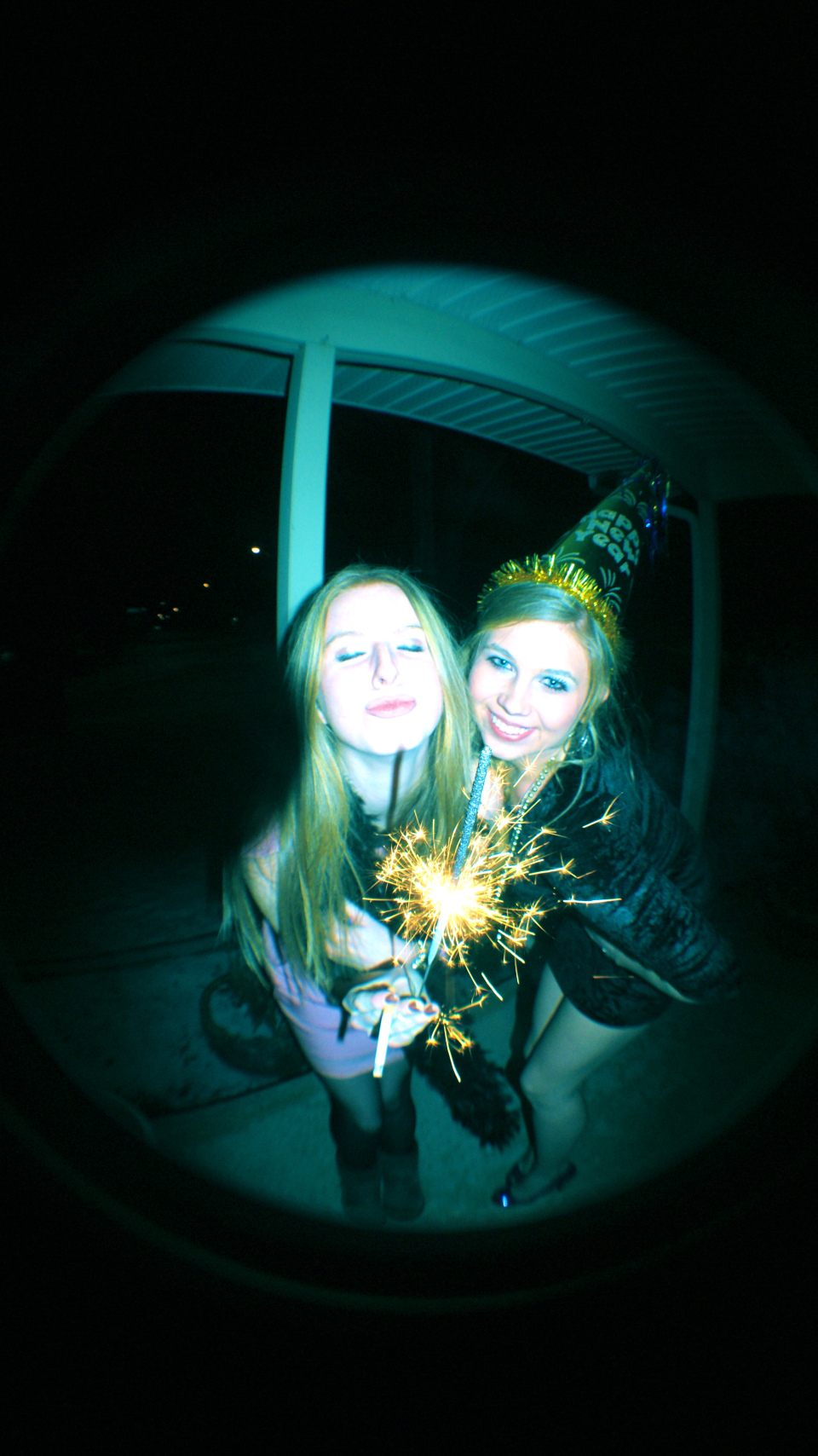 New Year's Eve, 2011- fisheye (Models: Palmer Nowak, Rebecca Alexander)