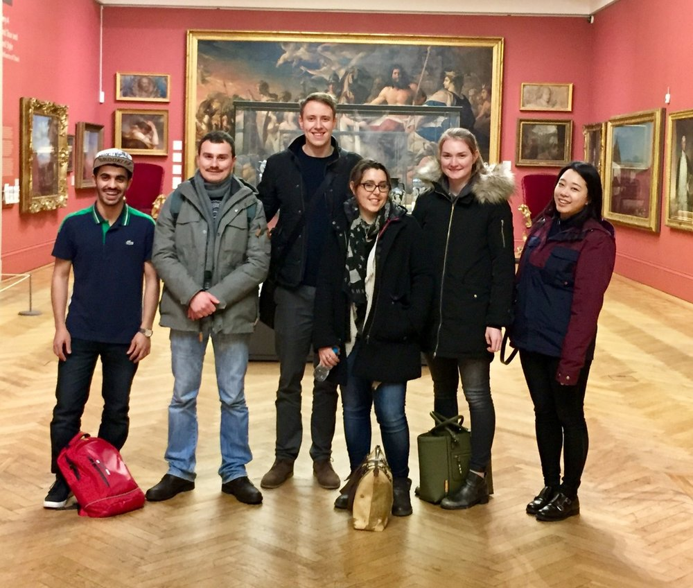 Amelie (centre) from our National Team & Noella (far right) on a tour of Manchester Art Gallery