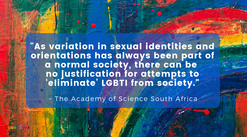 """As variation in sexual identities and orientations has always been part of a normal society, there can be no justification for attempts to 'eliminate' LGBTI from society.    The Academy of Science South Africa report ""Diversity in Human Sexuality: Implications for Policy in Africa"""