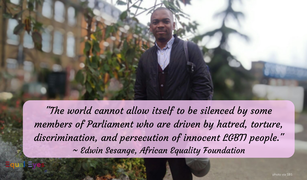 """The world cannot allow itself to be silenced by some members of parliaments who are driven by hatred, torture, discrimination, and persecution of innocent LGBTI people.""   ~ Edwin Sesange, African Equality Foundation responding to the Assembly of the Inter-Parliamentary Union"