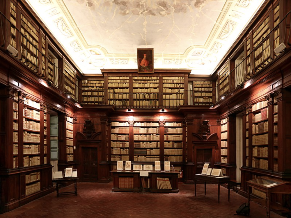 The main reading room in the Fabronian library