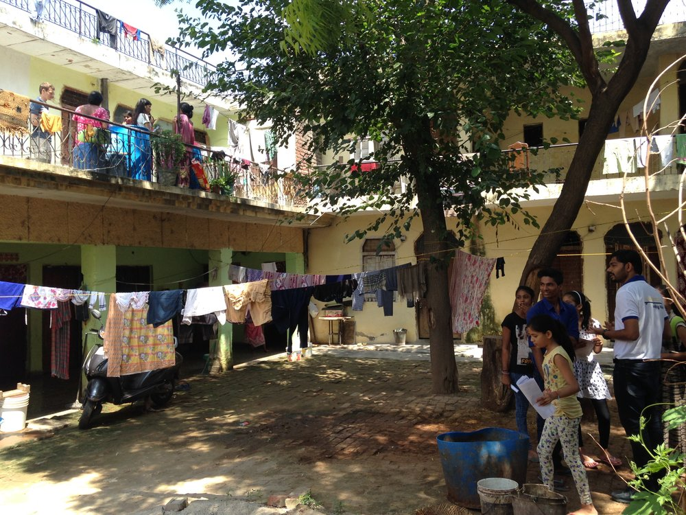 A housing complex in Aya nagar - we woke everyone up in the morning to share our ditial literacy learning! Join us for the fun next time!