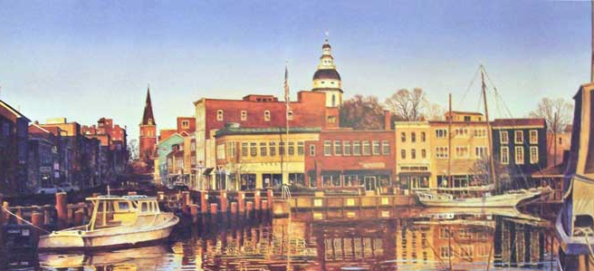 "I grew up in Annapolis, MD where my father owned a few restaurants. This is a picture of ""Annapolis First Light"" by artist Richard Bollinger"