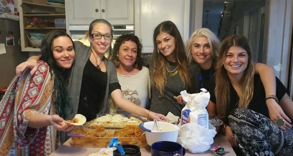 The Farias girls making homemade empanadas from Aunt Lisa's delicious recipe