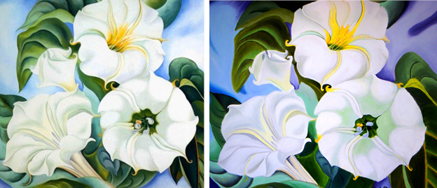 "Georgia O'Keeffe's floral masterpieces are a huge source of inspiration. On the left is her ""Jimson Weed"" piece.  On the right is a copy I attempted junior year of high school circa 2002."