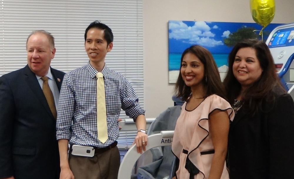 L to R: Elizabeth Mayor J. Christian Bollwage, Dr. James Pumarada, Dr. Asha Koshy, Councilwoman Annette Quijano