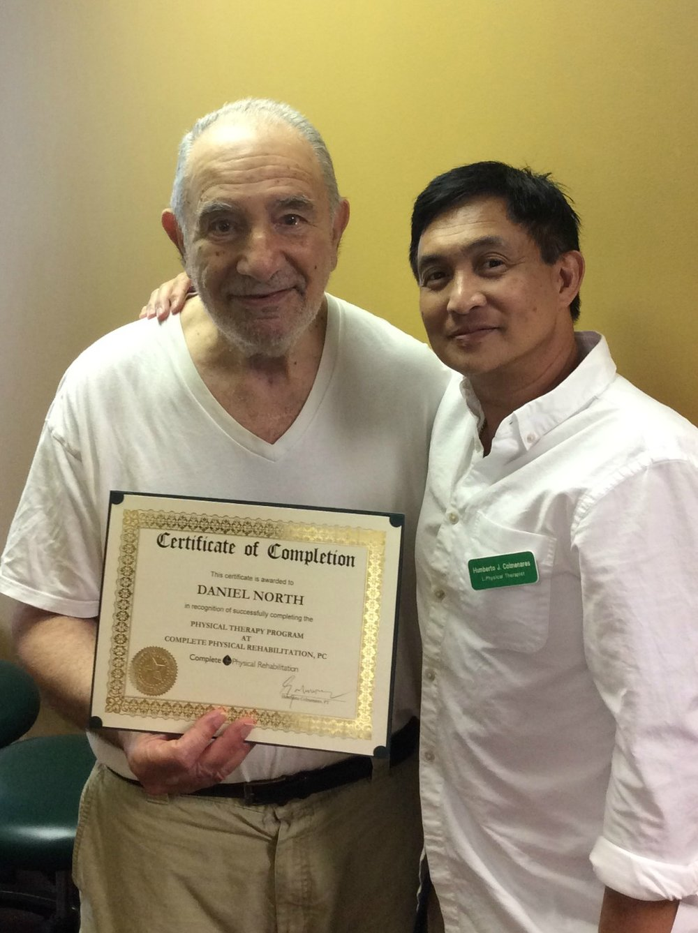 Dan North With certified LSVT BIG Physical Therapy specialist Humberto Colmenares