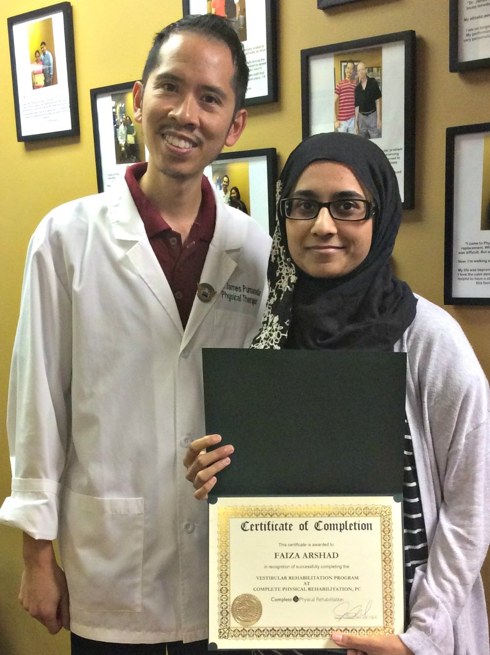 Jersey City Physical Therapy specialist Dr. James Pumarada with Faiza