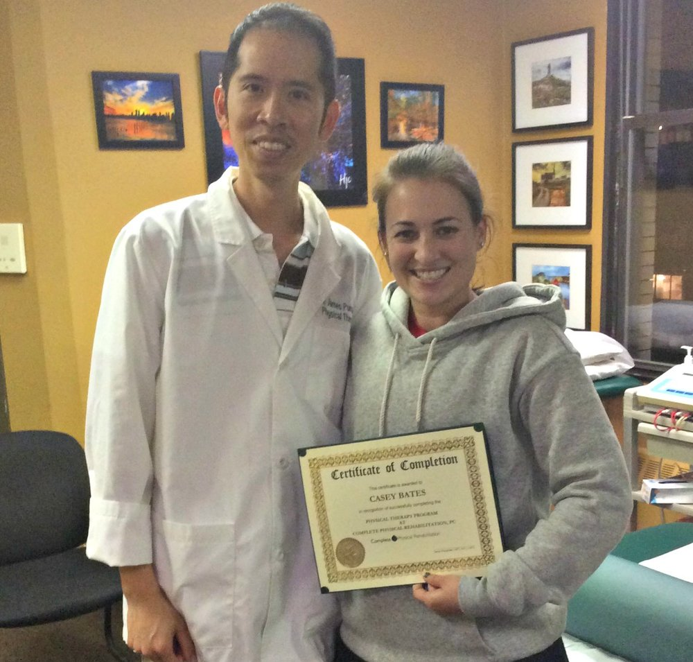Jersey City Physical Therapist Dr. James Pumarada with Casey Bates, a happy Complete Physical Rehabilitation patient!