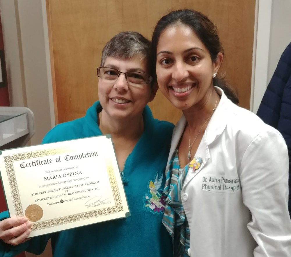 Vestibular physical therapy specialist Dr. Asha Koshy  with Maria, a happy Complete Physical Rehab patient!