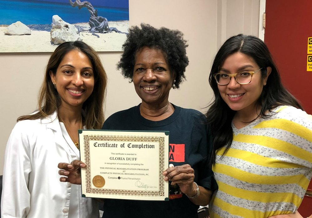 Elizabeth Physical Therapist Asha Koshy with Physical Therapy Assistant Diana Raa And Gloria Duff, A Happy Patient