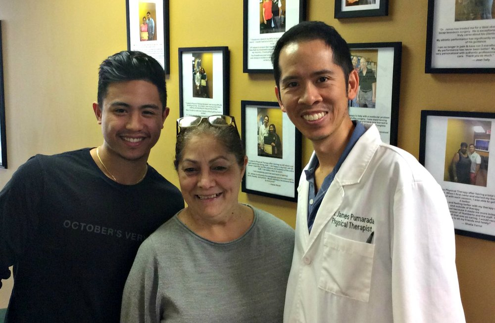 Physical Therapist Dr. James Pumarada & PT Aide Ralph Maravilla With Parkinson's Patient Nelly Torres After Finishing Her PT Program With AMAZING Results!