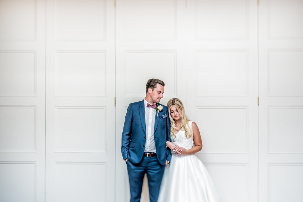 Contemporary Bride and Groom portrait at Blackbrook House, Belper, Derbyshire, UK