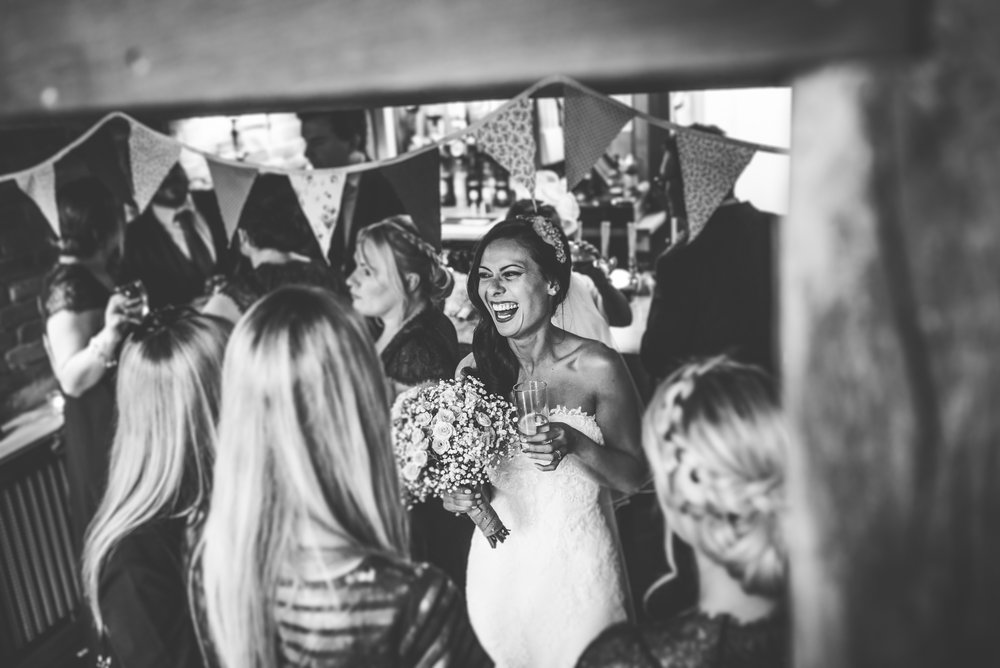 Happy bride at The Curradine Barns, Worcestershire