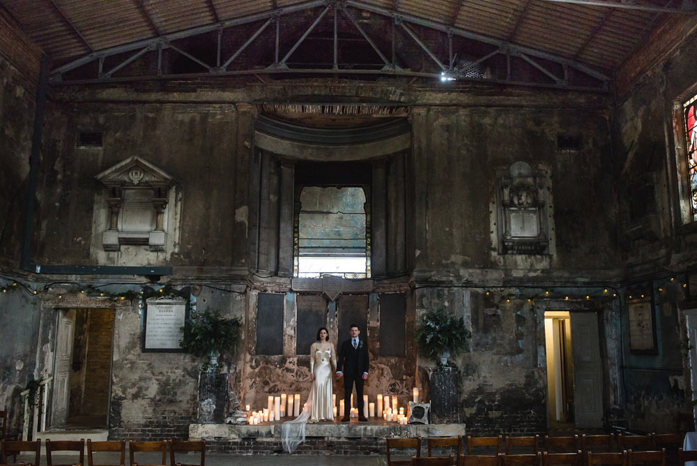 Vintage retro wedding couple at the Asylum, London