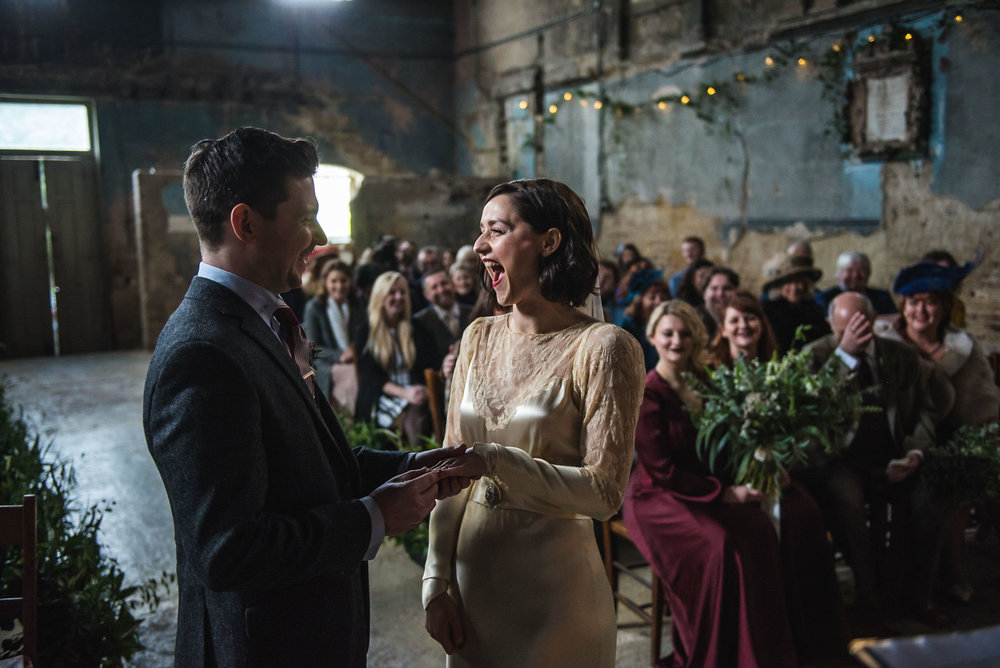 Delighted bride at the Asylum, London