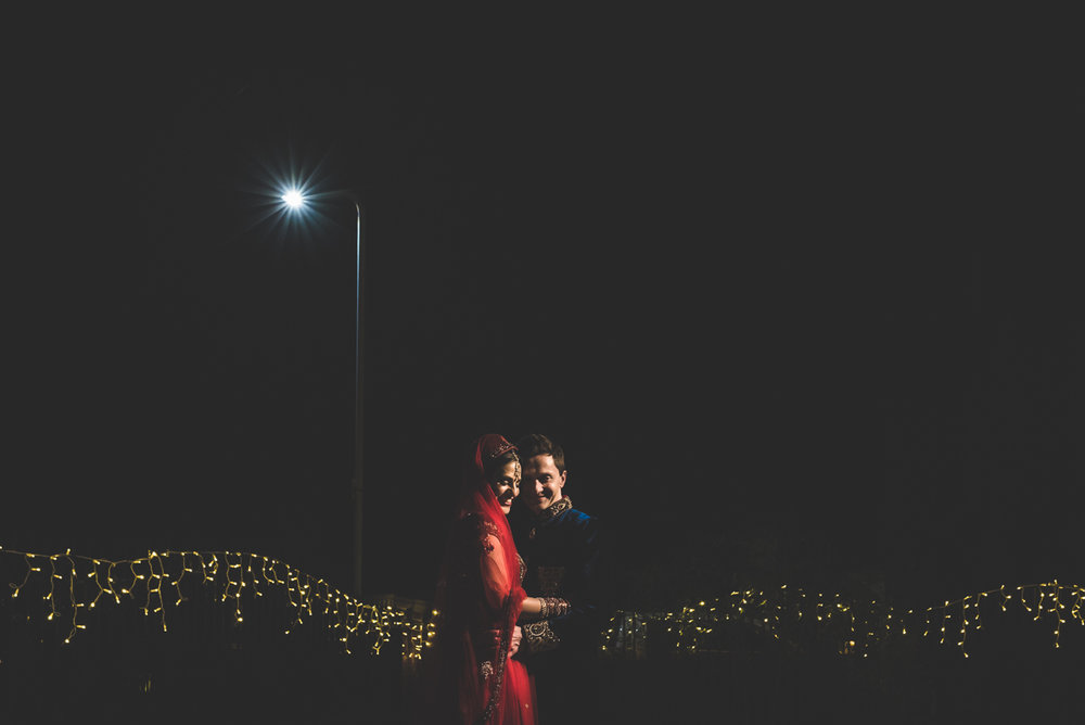 London Indian Wedding Red dress Streetlight